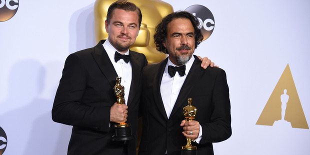 Leonardo DiCaprio, winner of the award for best actor in a leading role The Revenant and Alejandro G. Inarritu, winner of the award for best director for The Revenant. Photo / AP