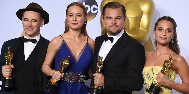 Mark Rylance, Brie Larson, Leonardo DiCaprio and Alicia Vikander. Photo / AP