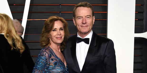 Robin Dearden, left, and Bryan Cranston arrive at the Vanity Fair Oscar Party. Photo / AP