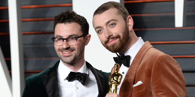 Oscar winners Jimmy Napes and Sam Smith. Photo / AP