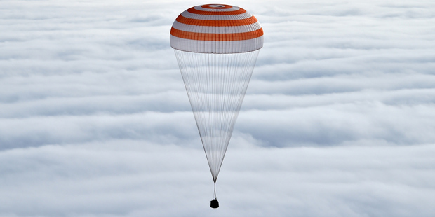 Russia's Soyuz TMA-18M space capsule carrying the International Space Station crew members. Photo / Nasa via AP