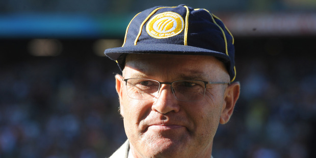 Former New Zealand cricket captain Martin Crowe after he was inducted into the International Cricket Council's Hall of Fame during a ceremony at the Cricket World Cup. Photo / AP.
