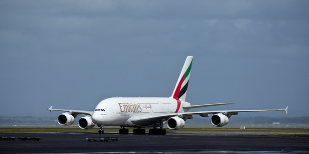 One of two Emirates A380 super jumbos arrives at Auckland International Airport. Photo / Dean Purcell