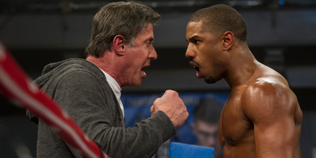 Michael B. Jordan and Sylvester Stallone in Creed. Photo / Supplied