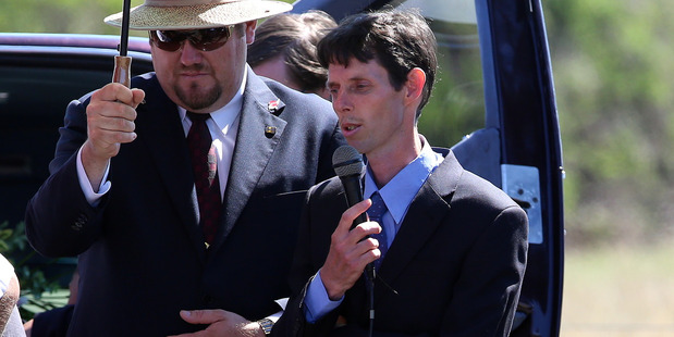 Husband Raphael Giles speaks at Funeral for Chantelle Giles. Photo / Wanganui Chronicle