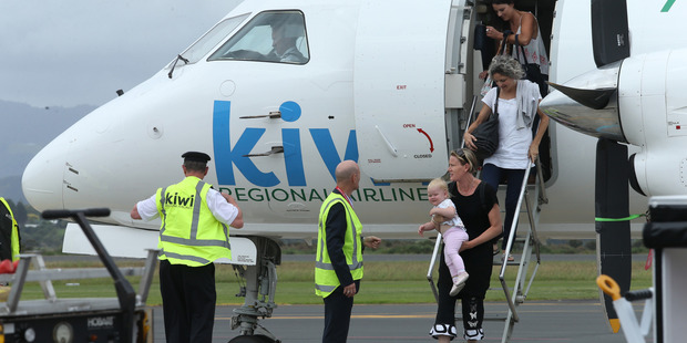 KiwiAir Regional Airlines chief executive Ewan Wilson was on hand to greet passengers from Nelson earlier this month.  File/Photo