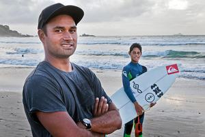 Surfer Kehu Butler and dad Kahn in 2014. Photo/file