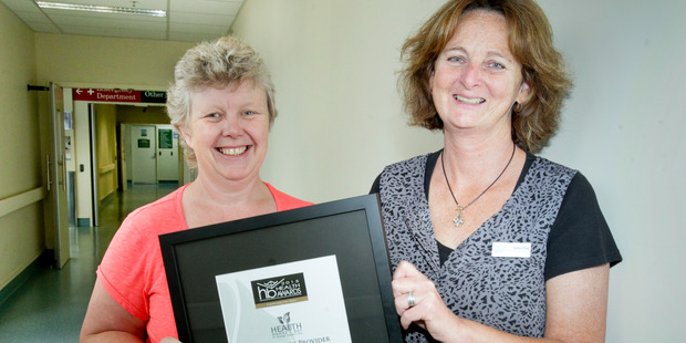 Sue Ward (left) and Chris Davidson, with their Health Hawke's Bay Excellence in Provider Collaboration and Integration award.