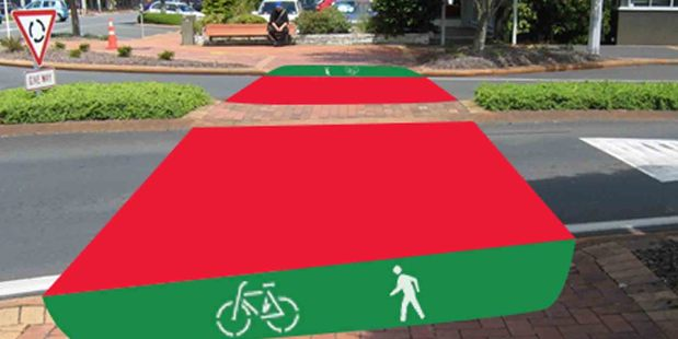 An Artist's impression of the new red painted Green Corridor.