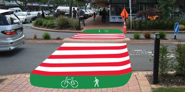 An artist's impression of the new red and white crossings.