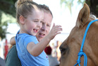 MAKING FRIENDS: Macy Humphrey, 4, and Ashley Humphrey of Napier get to meet Peaches from Leg-Up Trust at the Horse of the Year in the City at the Civic Square in Hastings today. PHOTO/ DUNCAN BROWN.