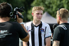 Ross Willox fronts up after making his Bay United debut yesterday. Photo / Duncan Brown