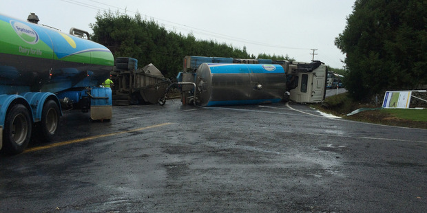 A milk tanker has rolled n the intersection of State Highway 14, Maungatapere and Snooks Rd.  PHOTO/MIKAELA COLLINS