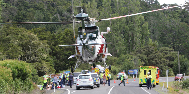 State Highway 10 was closed south of Kaeo after a two vehicle collision left four people seriously injured. Photo / Northern Advocate