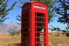 The red phone box beloved by Sir Michael Hill, golfer. Photo / Supplied