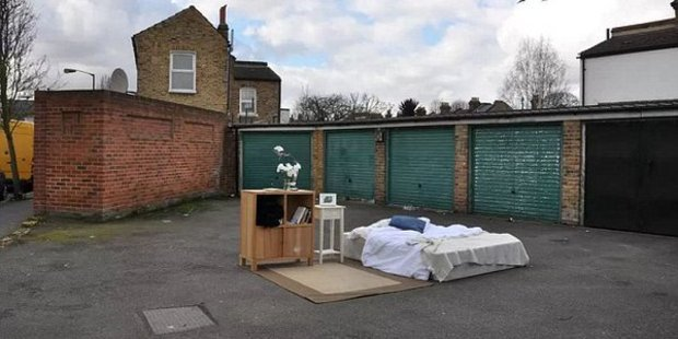 For a mere £8, you could spend a night in a London carpark. Photo / Airbnb