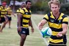 Waipu pivot Ben Mathers keeps the ball moving during the club's world record attempt. Photo / John Stone