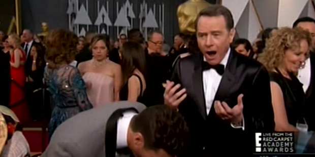 Breaking Bad actor Brian Cranston is in shock after E! host Ryan Seacrest broke his face.