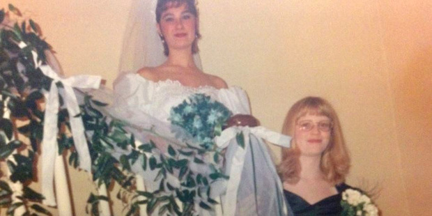 Right: The author, Paulina Combow, as a bridesmaid at age 12. Photo / Supplied via Paulina Combow