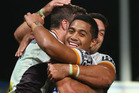 Corey Oates and Anthony Milford of the Broncos celebrate a try only to have it disallowed in the NRL opener against the Eels. Photo /Getty