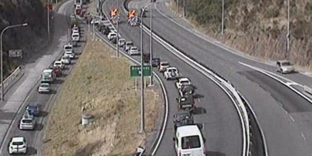 The serious crash which is slowing traffic into Wellington involved a truck and a motorbike. Photo / NZ Transport Agency