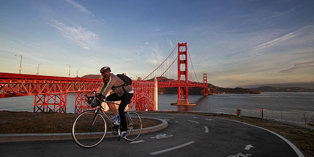 Biking over the Golden Gate Bridge is a fitness-friendly way to experience San Francisco. Photo / Getty Images
