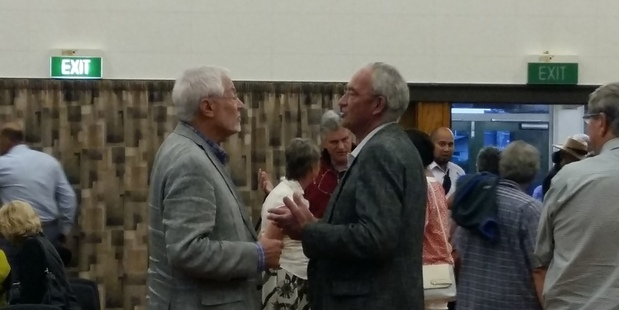 DEBATE: HBRIC chairman Andy Pearce and Hawke's Bay Regional Councillor Peter Beaven in discussion after last night's meeting at Karamu High School. Photo/ Sophie Price
