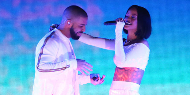 Rihanna and Drake perform on stage at the BRIT Awards. Photo / Getty Images