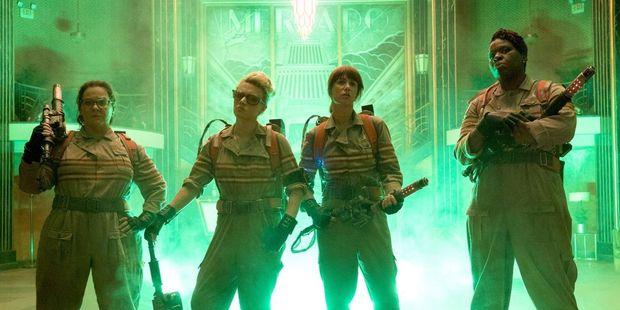 Loading Ghostbusters stars Melissa McCarthy, Kate McKinnon, Kristen Wiig and Leslie Jones.