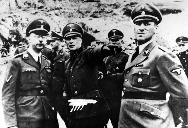 Heinrich Himmler (left) and Ernst Kaltenbrunner visit a concentration camp. Photo / Getty Images