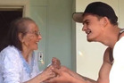 A young man captures a special moment as he dances with his grandmother. Photo / Facebook