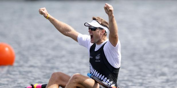 Mahe Drysdale celebrates gold at the London Olympics. Photo / Brett Phibbs