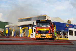 The sign manufacturing and printing premises, and its plant and equipment, were extensively damaged in the fire yesterday evening. Photo / Supplied