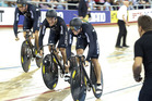 The New Zealand Men's Team Sprint team get under way at the start of their qualifying round. photo / AP