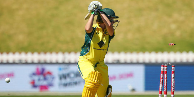 Beth Mooney of Australia is bowled against New Zealand. Photo / Getty