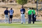 Former New Zealand cricket captains Brendon McCullum and Stephen Fleming today paid their respects to former teammate and fellow Black Caps captain Martin Crowe with a discreet and touching tribute at the New Zealand Open golf tournament in Queenstown.