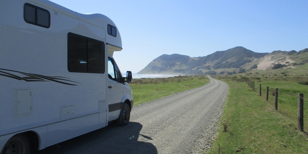 The Kea Frontier campervan heading towards the East Cape Lighthouse. Photo / Shandelle Battersby