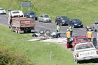 A trailer overturned on SH29, one of several incidents causing traffic congestion yesterday. Photo/Andrew Warner