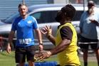 JUGGLING ACT: Wanganui Heartland player Samu Kubunavanua tried his best but had no room to display his many skills during the development match.