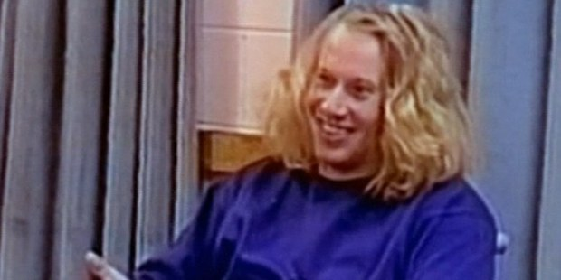 Martin Bryant laughs throughout the interview with police. Photo / Channel Seven