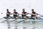 George Bridgewater (second from right) and the New Zealand quad crew missed Olympic qualification by 0.05s last year. PHOTOSPORT