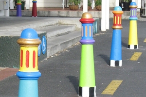 The Town Basin bollards are back.