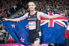 Nick Willis celebrates after winning the bronze medal in the men's 1500m at the Commonwealth Games in Glasgow in 2014. Photo / Greg Bowker