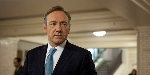 Loading Kevin Spacey in House of Cards, which is finally available in New Zealand.
