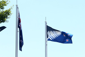 The New Zealand flag and the contender flying at Baycourt in Tauranga. Photo / File