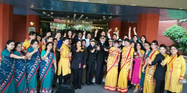 Air India's all-women crew before take off. Photo / Twitter, Air India