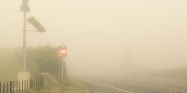 Weather-activated road signs on SH29. Photo/supplied