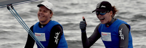 Jo Aleh and Polly Powrie of New Zealand after winning the Women's 470 competition. Photo / Getty Images