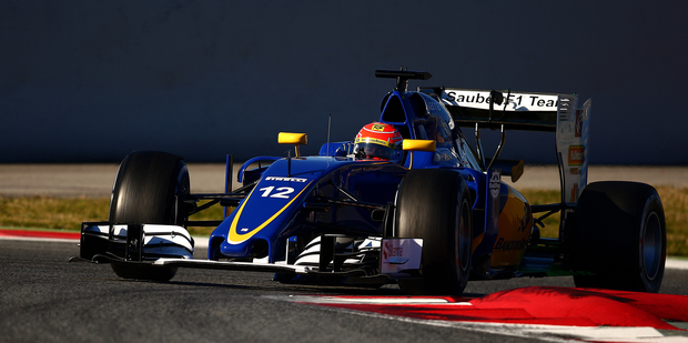 Felipe Nasr during day one of F1 winter testing at Circuit de Catalunya. Photo / Getty Images