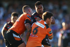 Sam Lisone of the Warriors playing against the Wests Tigers. Photo / Getty Images